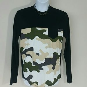 T shirt Top Jersey Camo Camouflage long sleeve New